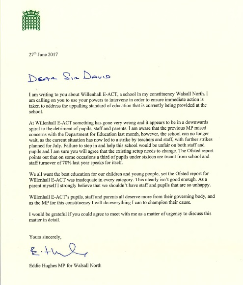 Letter to Sir David